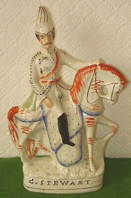 ANTIQUE STAFFORDSHIRE FLAT BACK FIGURE ON HORSE STATUE G. STEWART circa 1890