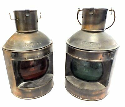 2 x Vintage BRASS Port & Starboard SHIP OIL LAMPS 23.5 x 14 cm - T08