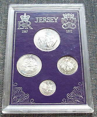 JERSEY, 1972, bunc 4 coin (£2.50, £2, £1 & 50p) silver set in case.