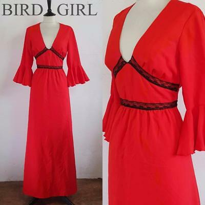 Black Lace Trims 1970S Vintage Red Flared Sleeves Boho Chic Maxi Dress 8 Xs