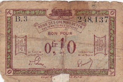 0,10 Francs Vg-Poor Banknote From  French Occupied Germany 1923!pick-R2