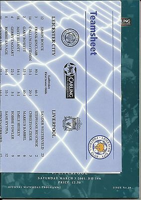 3.3.2001 LEICESTER CITY v LIVERPOOL + Original colour TEAMSHEET!