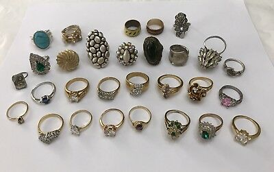 Estate Vintage Modern Rings Lot Multi Stone Types Gold Plated Different Sizes