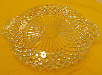 Vintage Anchor Hocking Waterford Depression Glass Handled Plate 12 Inch