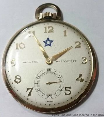 Oversize Hamilton Masterpiece Lone Star Award Pocket Watch Running Gold Filled