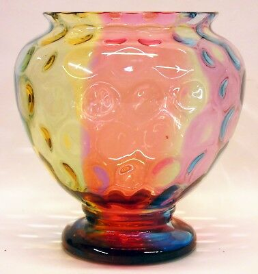 Large Victorian Moser Czech Hobbs Rainbow Art Glass Thumbprint Jardiniere Vase