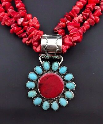 Silver and Red Coral Necklace with Pendant Signed Native American Handmade *785