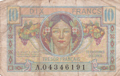 10 Francs Vg Banknote From  French Occupied Germany 1947!pick-M7