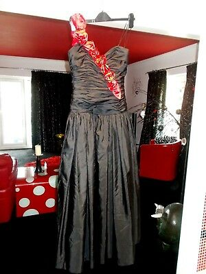 1980S Vintage Ladies 50S Look Lace  Petticoat  1 Strap Dress Vgc Prom J Charles