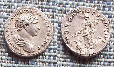 TRAJAN Roman silver denarius, very attractive piece