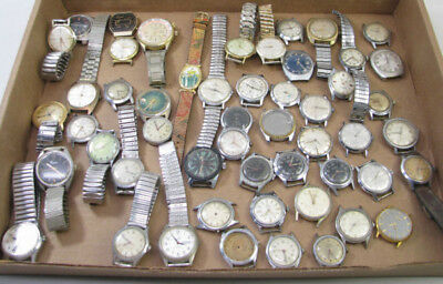 Large Lot Of 50+ Vintage Watch Wristwatch Parts Repair