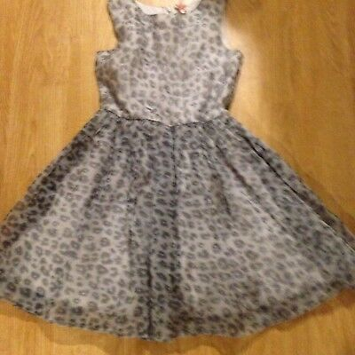 Girls Next Party Prom Dress Silver Animal Print Age 10-11