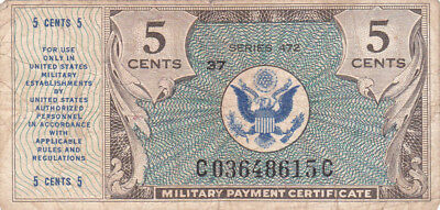 5 Cents Fine Military Payment Certificate From 1948 Us Military!pick-M15!