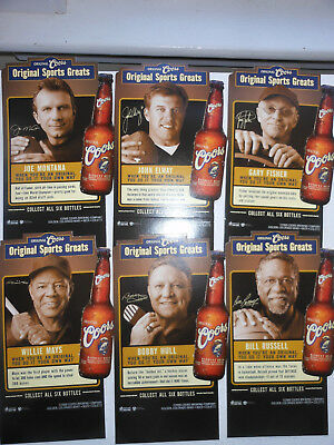 6 Coors Beer Ads-Sports Greats-Elway,montana,mays,hull,russell,fisher-2000