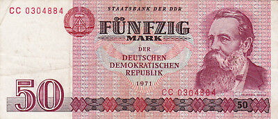 50 Mark Very Fine Banknote From 1971 East Germany!pick-30!