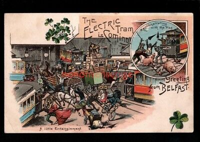 "BELFAST ""GREETING FROM"" THE ELECTRIC TRAM IS COMING Comic Artist POSTCARD  - 71"