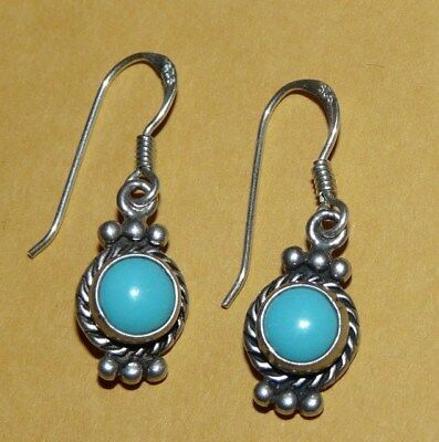 ~Vtg~Native~Navajo~925~Sterling~Silver~Sleeping~Beauty~Turquoise~Dangle~Earrings