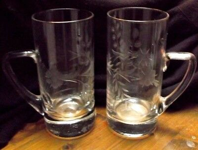 Floral Pair Cut Etched Glasses Mugs Tankards HALF PINT