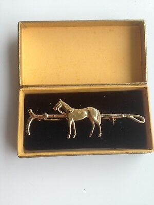 Vintage Gold plated Tie Clip Horse And Crop amazing detail JEWELLERY SALE NOW ON