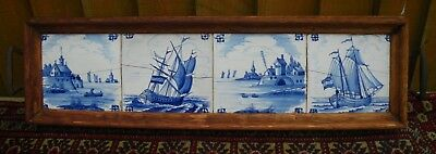 18Th C. Antique Salvaged 4 Tin Glazed Delft Tiles Hand Painted Sailing Scenes