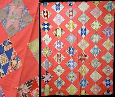 Vintage FeedSack Diamond Block Primitive Hand Stitched Tied Quilt Bed Coverlet