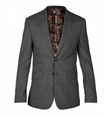 Ted Baker Men's Casej Check Tailored Blazer Suit Jacket Grey Charcoal Size 38R