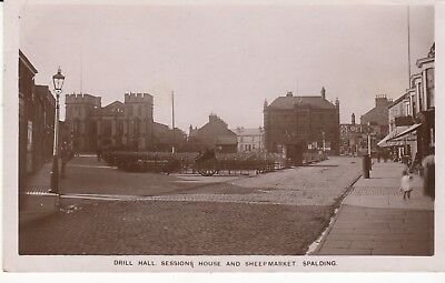 Rp P/c  Drill Hall, Sessions House & Sheep Market, Spalding, Lincolnshire 1910