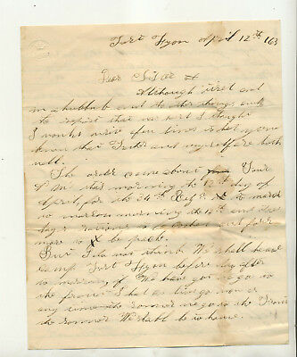 1863 Civil War Eral Soldier Letter Datelined Fort Lyon From Francis Hay