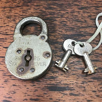 Vintage Antique Union 30 25 Six Lever Made In England Padlock Lock And Keys