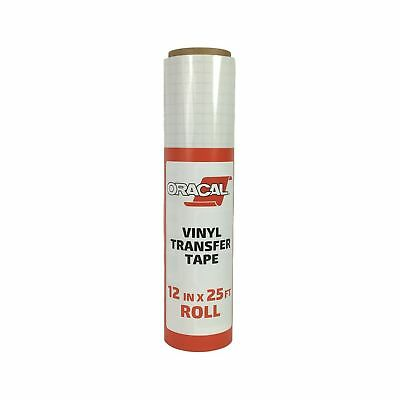 """Oracal 12"""" X 25' Feet Roll CLEAR Transfer Tape w/ Grid for Adhesive Vinyl 