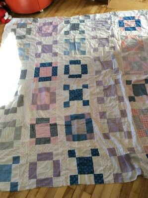 "Vtg Hand Stitched Primitive Quilt Top 73""x64"" Repair Cutter Farmhouse  TOP ONLY"