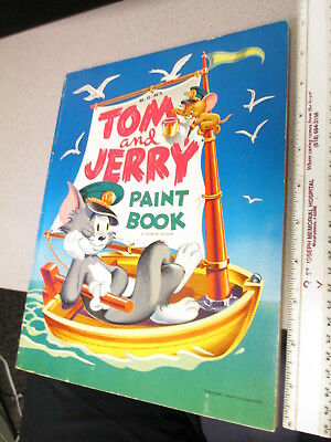 TOM & JERRY MGM paint coloring comic book #214725 128pgs UNUSED 1952 sail boat
