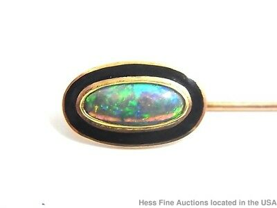 Natural Opal 14K Rose Gold Art Deco Enamel Stick Pin for Tie Hat Collar Scarf