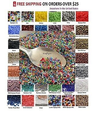 ++ TINY BEADS 11/0 Czech 10-Grams Glass Seed Beads PICK COLOR