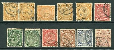 1898 Imperial China 12 x Dragon stamps Used Nice Postmarks