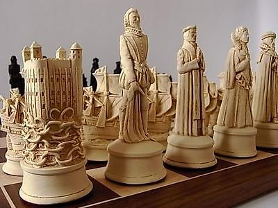 fascinating heavy vintage style set of Tudor/ Elizabethan chess game pieces