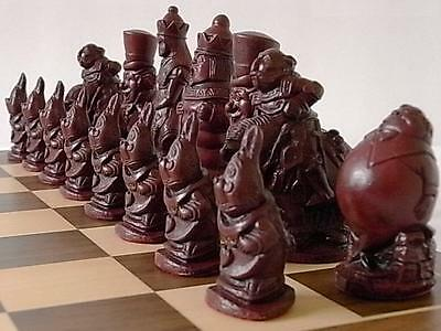 The Very Rare Collectible & stunning alice in wonderland Chess Set  game pieces
