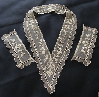 Antique Tambour Embroidered Tulle Net Cotton Lace Collar & Cuffs