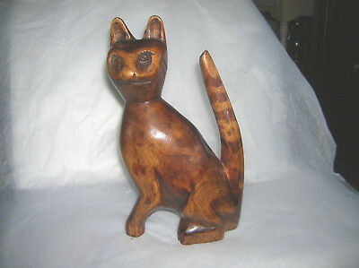 Vintage Solid Wood Carved Cat Figurine With Striped Tail Figure Folk Art
