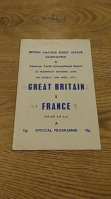 Great Britain Youth v France Youth 1975 Rugby League Programme