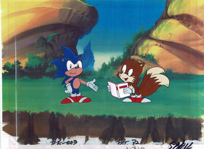 Sonic The Hedgehog Series Original Production Animation Cel & Copy Bkgd #A25296