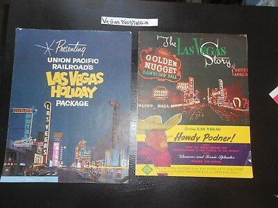 Vegas Paper Photo 2 Pamphlet Nevada 1950's Sands Rancho Frontier Nevada Aerial