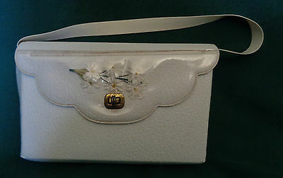 Vintage First Communion Purse with Flowers Under Plastic Crystal Rosary Gloves