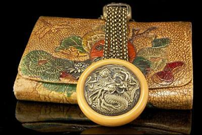 Old Japanese Dragon Chrysanthemum Leather Silver Netsuke Sagemono Tobacco Pouch