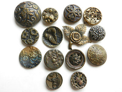 Beautiful Lot of 14 Antique Vintage Metal Buttons Flower and Leaf Patterns
