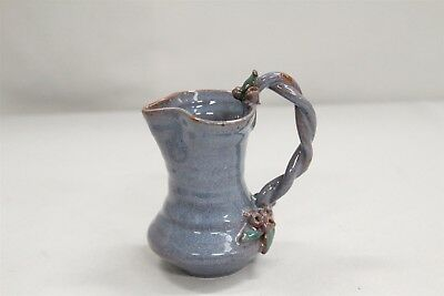 Arts Crafts Mary Short Twisted 2 Handled Leaves Blossoms Blue Pottery Pitcher