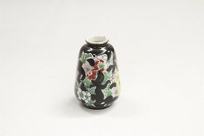 Chinese Porcelain Miniature Red Yellow Flowers Black Ovoid Cabinet Vase
