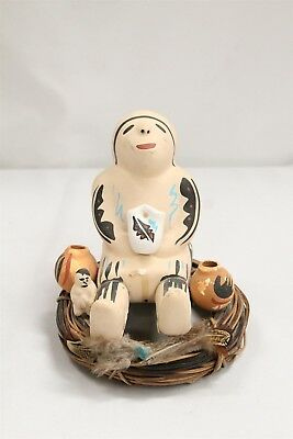 Jemez Pueblo George Gray Single Kid 3 Vase Pottery Storyteller Sitting on Sticks