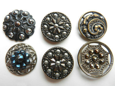 Beautiful Lot 6 Antique Victorian Metal Buttons Cut Steel Accents Some Open Work