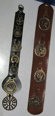 2 Vintage Leather Straps with Brass Horse Medallions